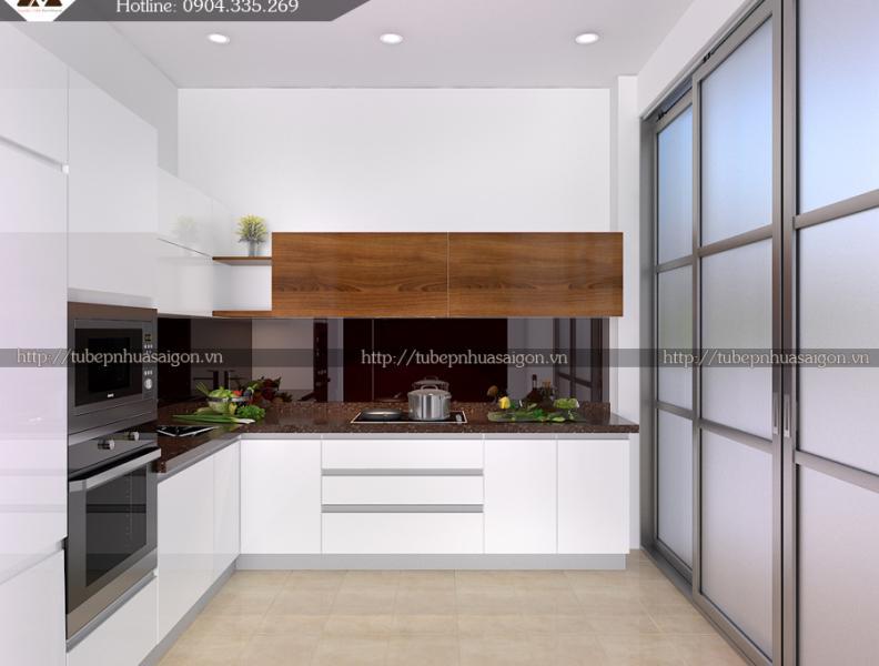 Mẫu tủ bếp đẹp hiện đại màu trắng nhà anh Thắng- Lạc Trung, Hà Nội