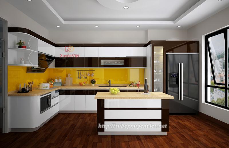 Mẫu tủ bếp đẹp có bàn đảo nhà anh Cừ - TP Thái Nguyên