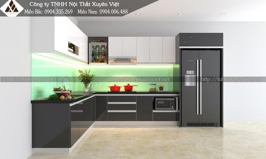 Mẫu tủ bếp đẹp có bàn đảo nhà anh Cừ - TP Thái Nguyên góc trong