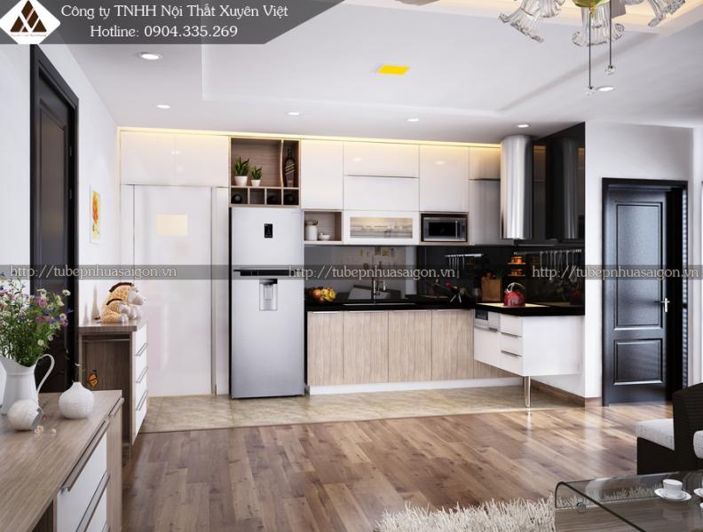 Mẫu tủ bếp nhựa laminate nhà anh Cương - Chung cư Rice Hà Nội