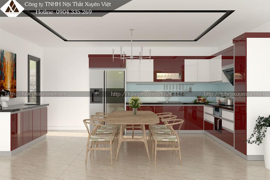 Tủ bếp đẹp cho nhà chun g cư chị Nguyệt - An Khánh, Hà Nội