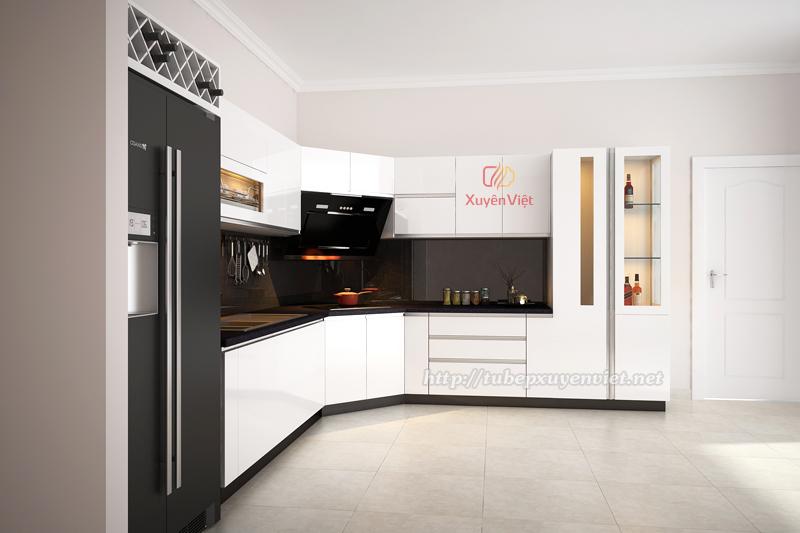 Tủ bếp đẹp màu trắng nhà anh Hùng - TP Bắc Ninh