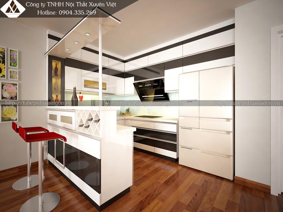 Tủ bếp đẹp có quầy bar nhà chú Sơn với đầy đủ công năng