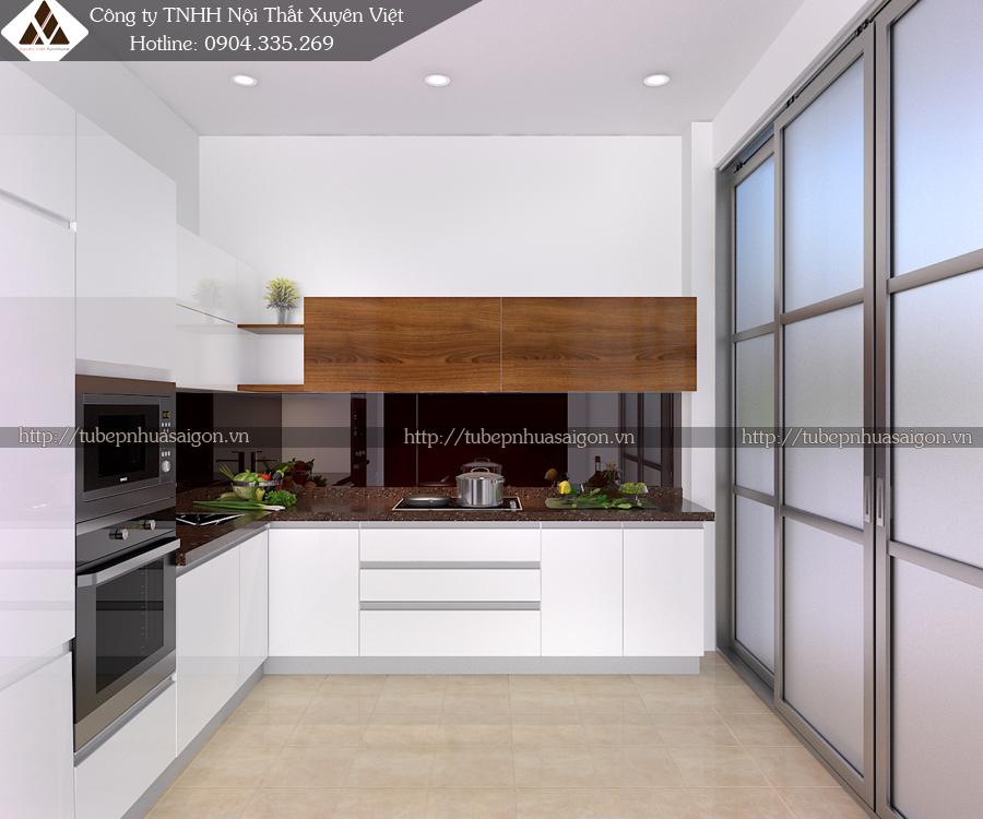 Tủ bếp đẹp màu trắng nhà anh Thắng- Lạc Trung, Hà Nội