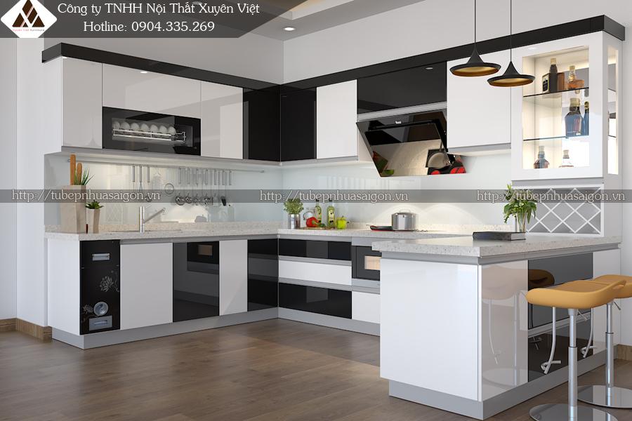 Tủ bếp nhựa đẹp sơn men bóng ôt ô màu đen trắng