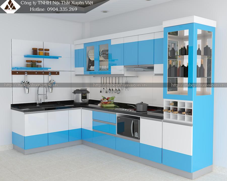 Căn bếp đẹp có tủ rượu màu xanh dương - trắng