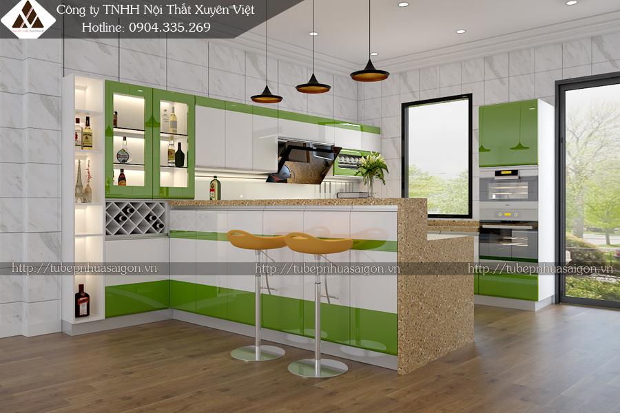 Tủ bếp hiện đại có quầy bar tủ rượu