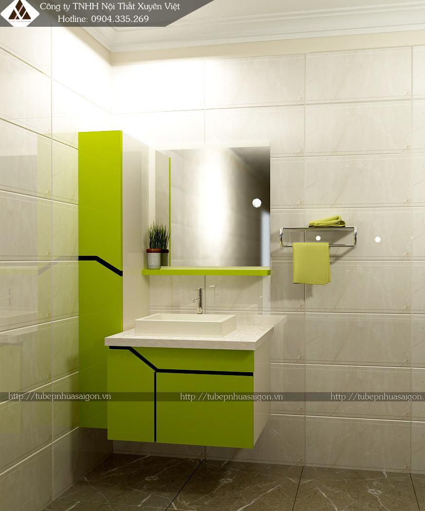 Tủ lavabo nhà tắm ứng dụng tấm nhựa pvc