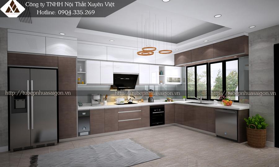 Tủ bếp nhựa laminate nhà anh Hải - KDT Gamuda