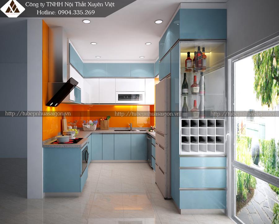 Tủ bếp đẹp hiện đại phong cách Châu Âu nhà anh Lợi
