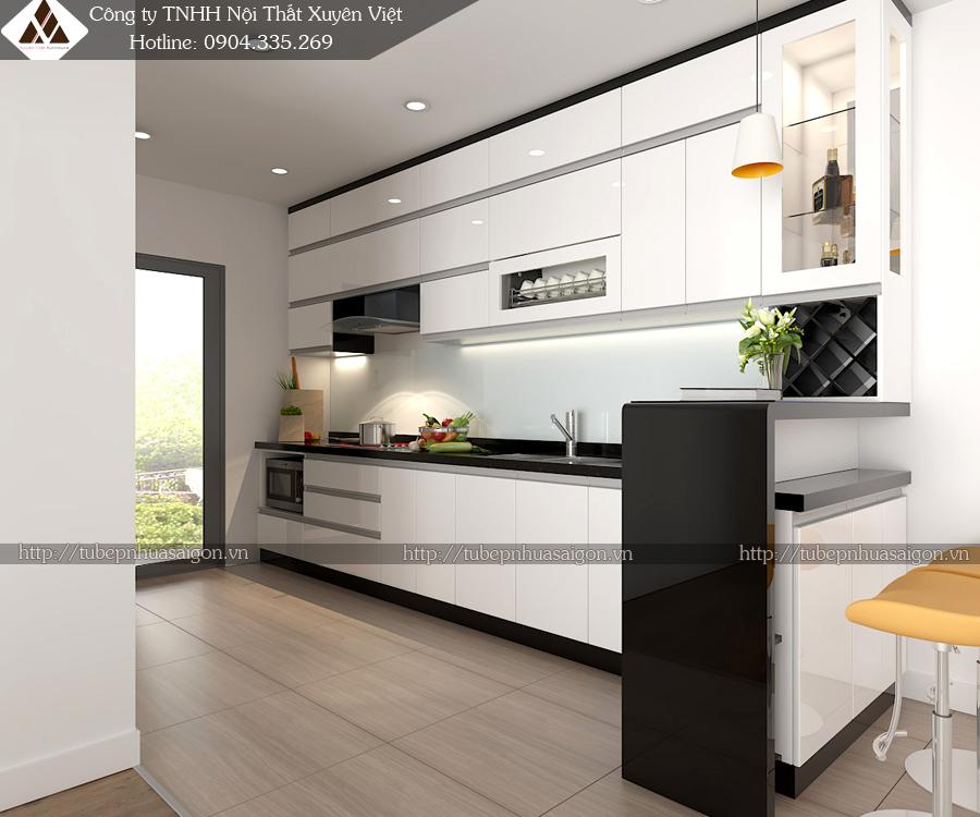 Tủ bếp hiện đại phong cách châu âu có quầy bar đơn giản