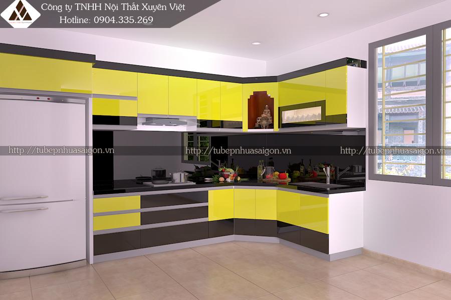 Tủ bếp hiện đại châu Âu với màu sắc đen vàng