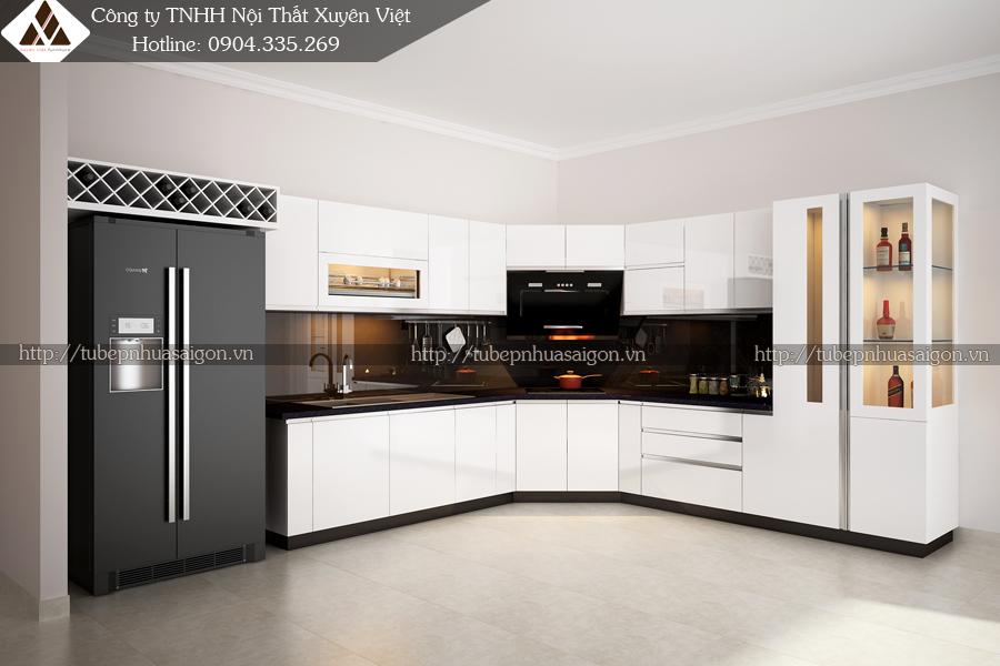 Tủ bếp đẹp màu trắng nhà anh Hùng