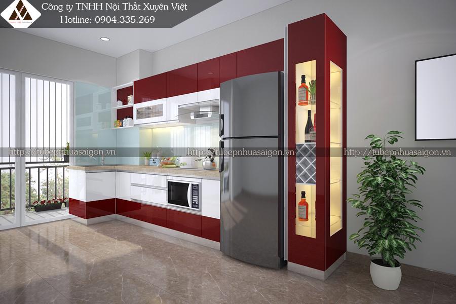 Tủ bếp đẹp hiện đại Châu Âu cho chung cư