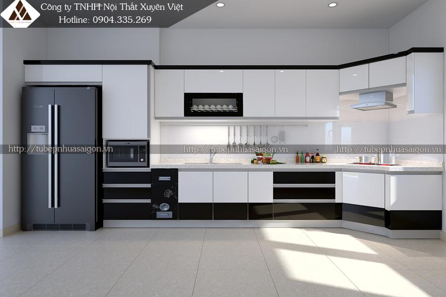 Tủ bếp đẹp hiện đại Châu âu màu đen trắng