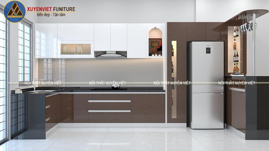 Tủ bếp nhựa cánh phẳng hiện đại nhà chị Thủy- Tiền Giang
