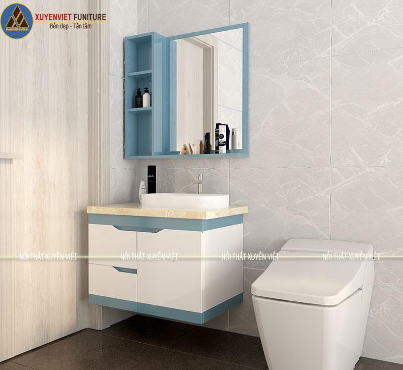 Tủ lavabo tông xanh trắng dịu mát được làm bằng chất liệu Nhựa PVC siêu chịu nước