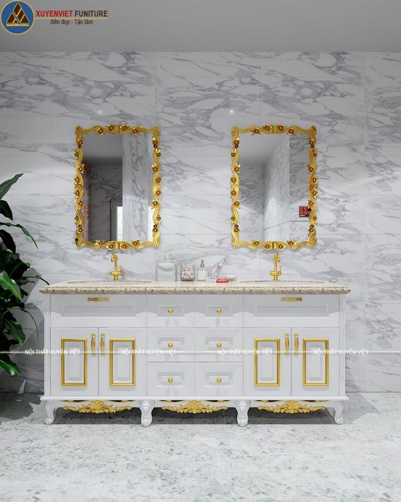 Tủ lavabo tân cổ điển dát vàng đẳng cấp XVL789