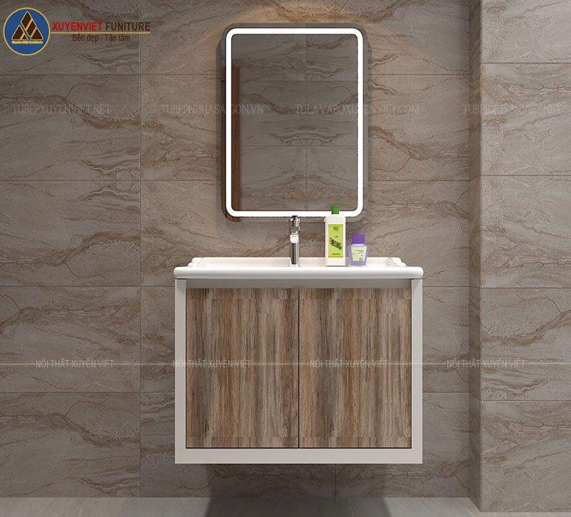 Mẫu tủ chậu lavabo giả gỗ hiện đại XVL759 phù hợp với phòng tắm có diện tích nhỏ hẹp