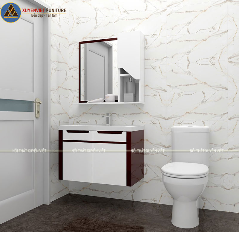 Tủ lavabo treo tông trắng đỏ hiện đại mang vẻ đẹp sang trọng nhà chú Hùng