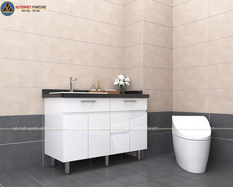 Mẫu tủ lavabo hiện đại XVL757 tông trắng  tạo sự năng động cho toàn bộ tủ
