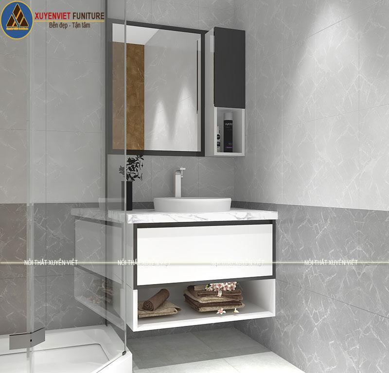 Bộ tủ chậu rửa mặt cao cấp XVL730 treo tường nhà anh Sơn
