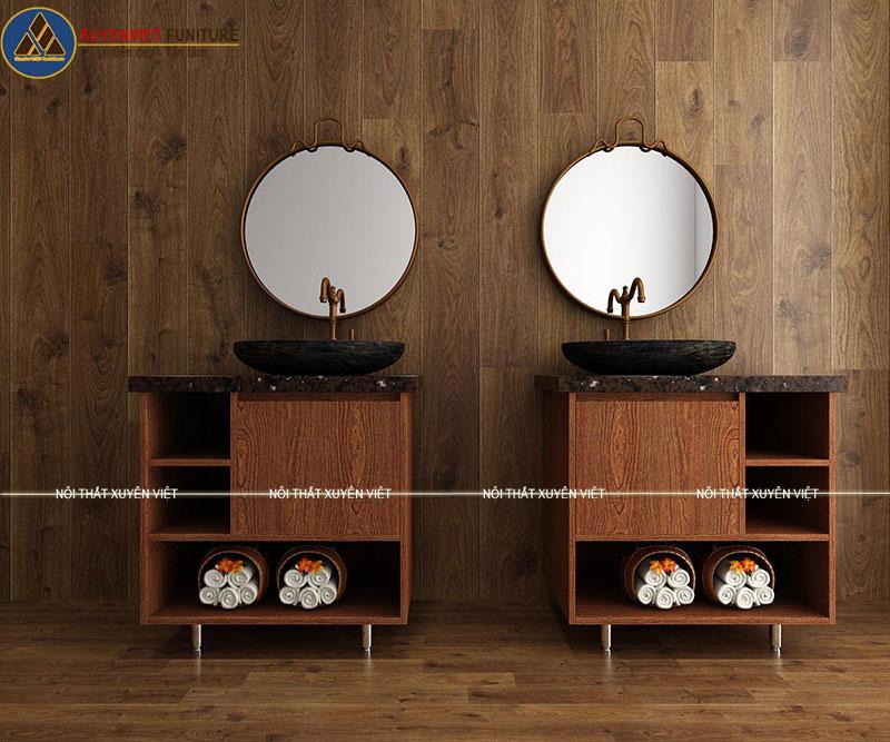 Hình ảnh 2 bộ tủ lavabo thiết kế giả gỗ XVL736 cho 2 phòng tắm nhà anh Đồng